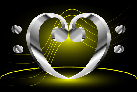 Heart - bass clef, Music note stave and heart bass clef,