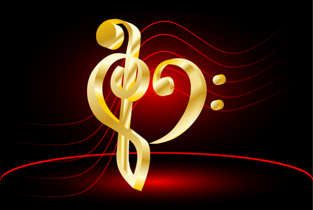 festival scales: Heart - violin and bass clef, Music note stave and heart violin and bass clef,