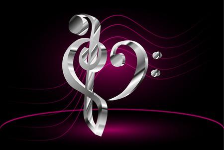 clave de fa: Heart - violin and bass clef, Music note stave and heart violin and bass clef,