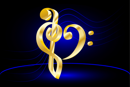 clave de fa: Corazón - violín y clave de fa, Nota de la música y el violín duela el corazón y clave de fa,