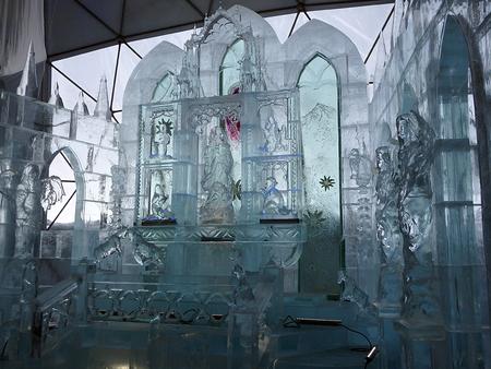high altar: altar made of ice, Sculptures made of ice - High Tatras - Slovakia 2017,