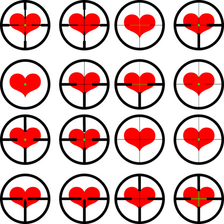 reticule: heart ,  targeted at heart, reticule, viewfinder, target graphics,
