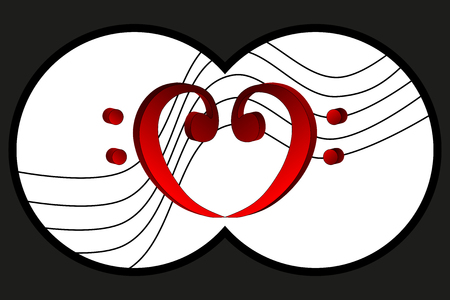 Binoculars view, Heart - bass clef, Music note stave and heart bass clef,