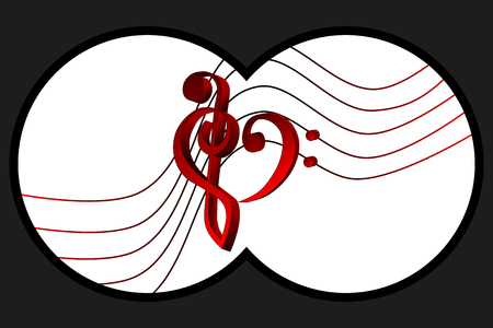 binoculars view: Binoculars view, Heart - violin and bass clef, Music note stave and heart violin and bass clef, Illustration
