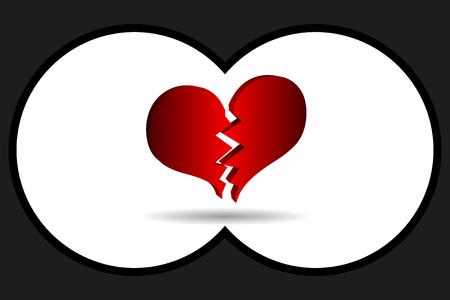 Widok lornetki, pęknięcie wektora serca, złamane serce,