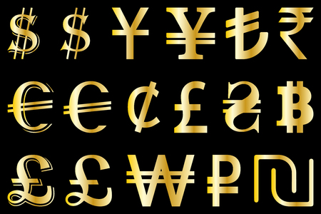 Set Symbols Of The Leading World Currencies Vector Illustration