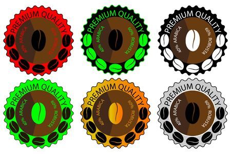 coffee blend - sticker or label, coffee bean ,Coffee premium quality, Illustration