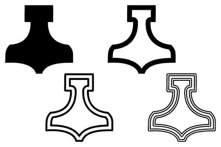 Thor hammer , Thor hammer icon vector illustration Stock Illustratie