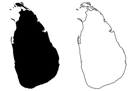 スリランカ地図ベクトル イラスト、落書きは、スリランカをスケッチします。  イラスト・ベクター素材