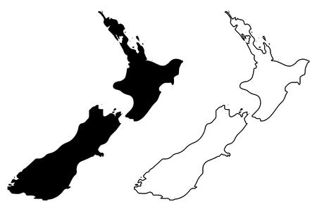 New Zealand map vector illustration, scribble sketch New Zealand.