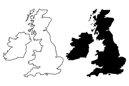 British Isles map vector illustration, scribble sketch British Isles