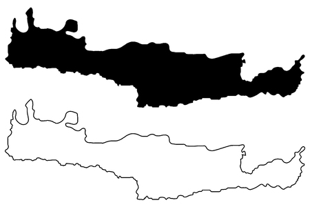 Kreta kaart vectorillustratie, Krabbel schets eiland Kreta