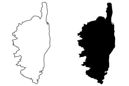 corsica: Corsica map vector illustration, scribble sketch Corsica Illustration