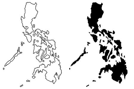 フィリピン地図ベクトル図、フリーハンド スケッチ フィリピン  イラスト・ベクター素材