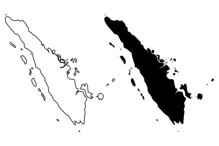 Sumatra map vector illustration, scribble sketch Sumatra Illustration