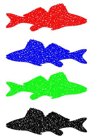 zander silhouette color set vector, (Sander lucioperca),
