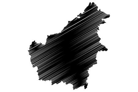 country: Borneo map vector illustration, scribble sketch Borneo