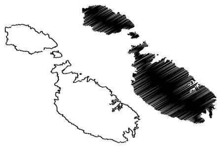 maltese map: Malta island map vector illustration, scribble sketch  Malta island Illustration