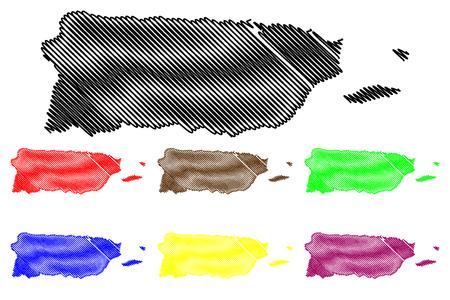 Puerto Rico map vector illustration, scribble sketch  Puerto Rico Illustration