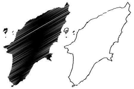 Greek island Rhodes map vector illustration, scribble sketch  Rhodes island Illustration