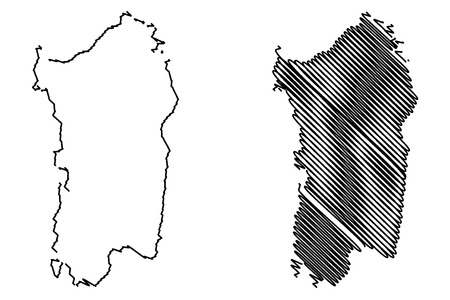 Sardinië eiland kaart vectorillustratie, Krabbel schets Sardinië eiland Stock Illustratie
