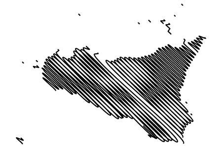 Sicily island map vector illustration, scribble sketch  Sicily island Illustration