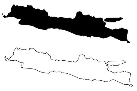 Java island map vector illustration, scribble sketch Java