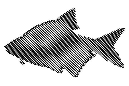 Common bream silhouette vector, (Abramis brama), Ilustrace