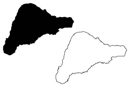 Isla de Rapa Nui ilustración vectorial mapa, dibujo garabato Isla de Pascua Foto de archivo - 81063851