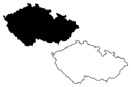 vector map of Czech Republic, scribble sketch Czech
