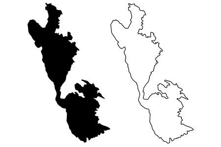 Ithaki island map vector illustration, scribble sketch  Ithaki island
