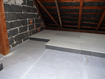 attic: Insulation of the attic - polystyrene, Heating the attic ,  Stock Photo