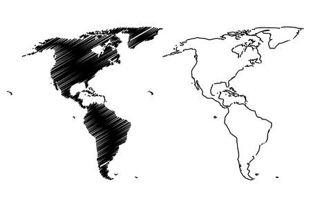 アメリカ ベクトル イラスト、落書きの地図アメリカをスケッチします。
