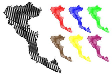 Greek Island of Corfu map vector illustration, scribble sketch  Corfu island Illustration