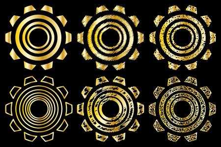 spinning: Icon gearwheel, Vector golden gears icons set,