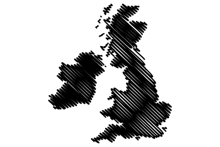 britannia: British Isles map vector illustration, scribble sketch British Isles