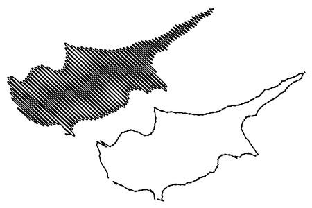 cyprus island map vector illustration, scribble sketch  cyprus island