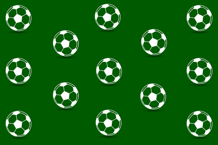 Soccer ball on green background - vector pattern