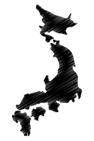Japan map vector illustration, scribble sketch Japan
