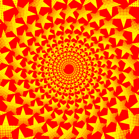 Yellow five-pointed star on red background - vector pattern, Abstract circular background - five-pointed star,