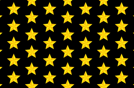Yellow five-pointed star on black background - vector pattern Çizim