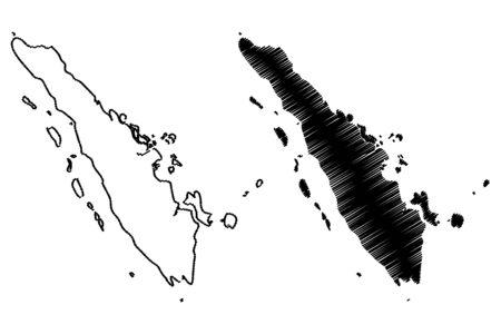 Sumatra map vector illustration, scribble sketch Sumatra