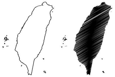 Taiwan map vector illustration, scribble sketch  Taiwan