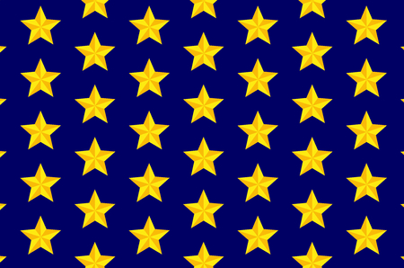 Yellow five-pointed star on blue background - vector pattern