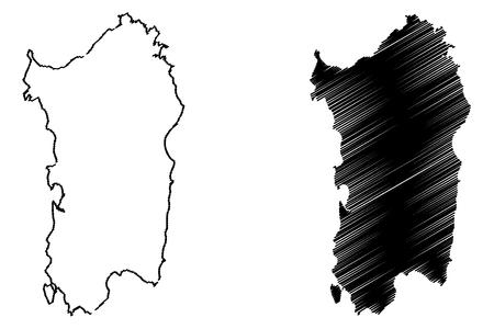 Sardinia island map vector illustration, scribble sketch  Sardinia island