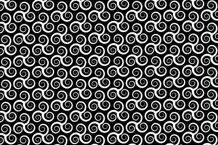 Vector pattern with swirling triple spiral or Triskele, ancient Celtic symbol