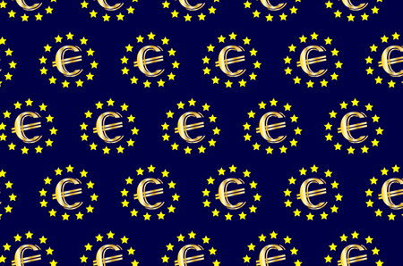 trade union: Golden euro on blue background - vector pattern