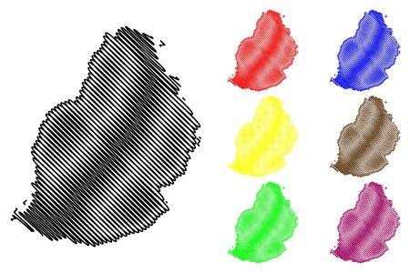 Mauritius Island map vector illustration, scribble sketch Mauritius