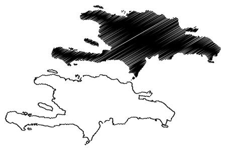 Hispaniola map vector illustration, scribble sketch  Hispaniola