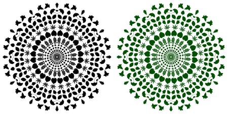 Flower Mandala, Vintage decorative elements, Foliage pattern, vector illustration, Illustration